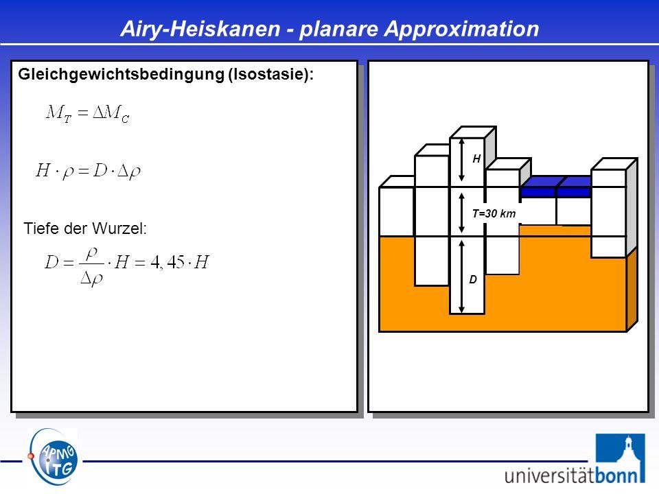 Airy-Heiskanen - planare Approximation Gleichgewichtsbedingung (Isostasie): D T=30 km H Auf dem Ozean: Tiefe der Antiwurzel: Tiefe der Wurzel: