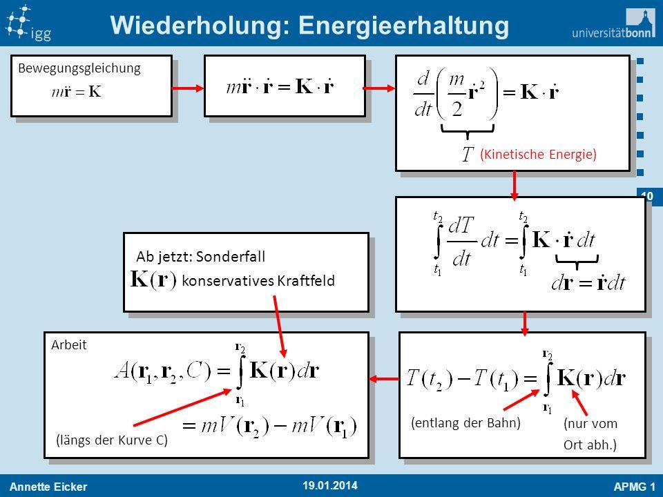 Annette EickerAPMG 1 10 19.01.2014 Wiederholung: Energieerhaltung Bewegungsgleichung (Kinetische Energie) (nur vom Ort abh.) (entlang der Bahn) Arbeit