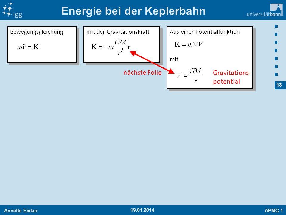 Annette EickerAPMG 1 13 19.01.2014 Energie bei der Keplerbahn Bewegungsgleichung mit der Gravitationskraft Aus einer Potentialfunktion mit Aus einer P