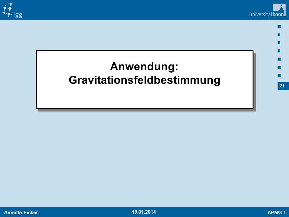Annette EickerAPMG 1 21 19.01.2014 Anwendung: Gravitationsfeldbestimmung Anwendung: Gravitationsfeldbestimmung