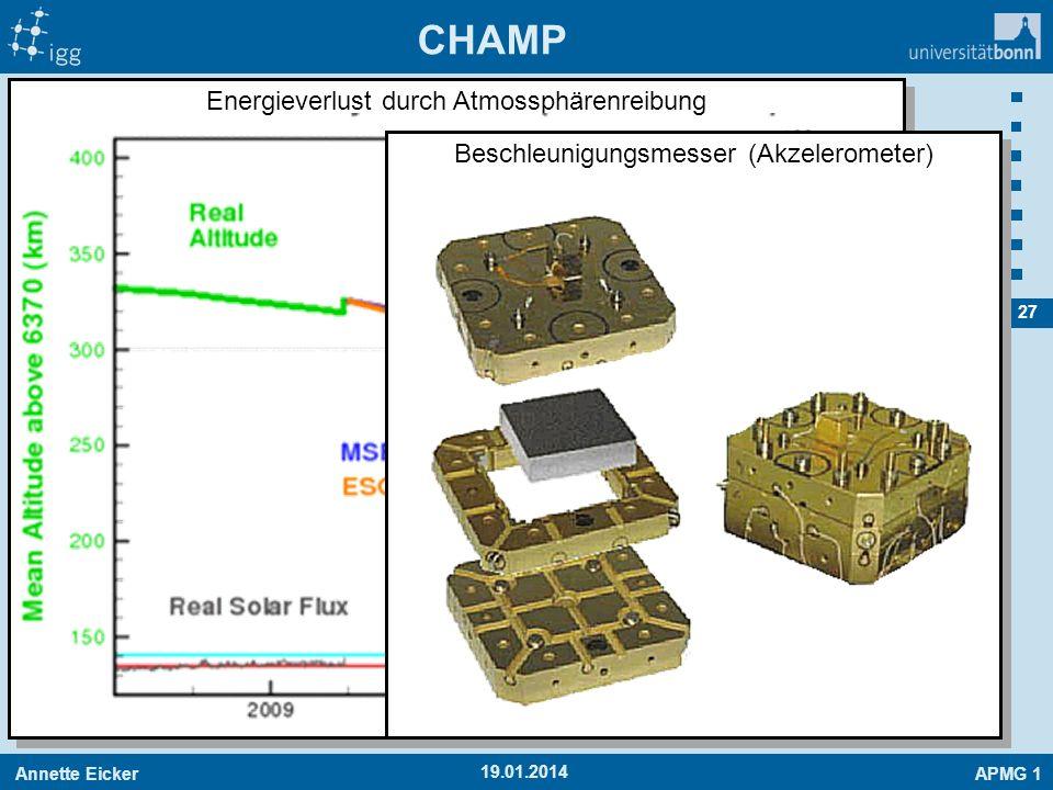 Annette EickerAPMG 1 27 Energieverlust durch Atmossphärenreibung CHAMP 19.01.2014 Beschleunigungsmesser (Akzelerometer)