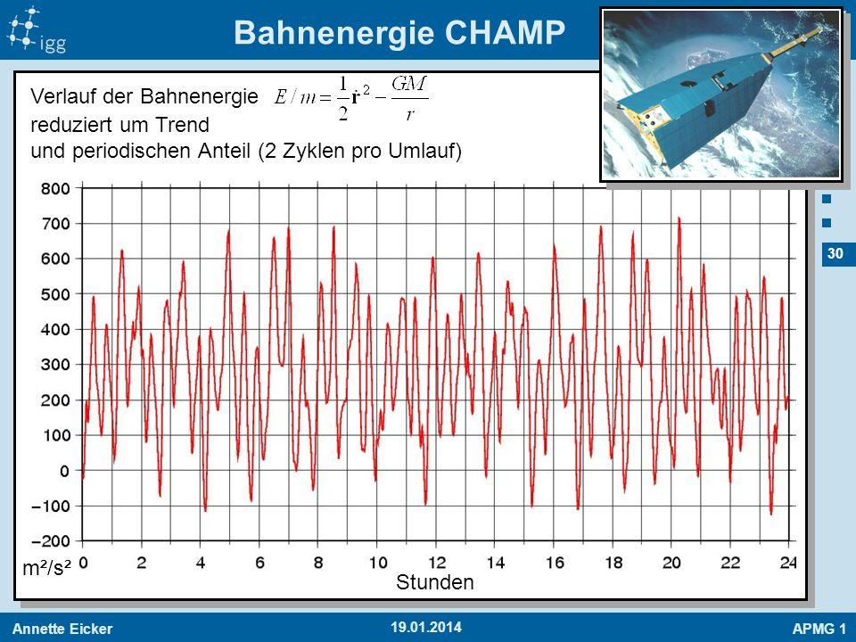 Annette EickerAPMG 1 30 19.01.2014 Bahnenergie CHAMP m²/s² Verlauf der Bahnenergie reduziert um Trend und periodischen Anteil (2 Zyklen pro Umlauf) St