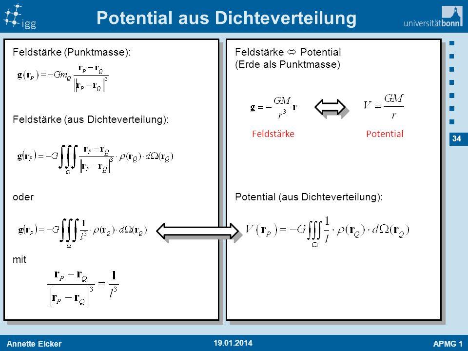 Annette EickerAPMG 1 34 19.01.2014 Potential aus Dichteverteilung Feldstärke (Punktmasse): Feldstärke (aus Dichteverteilung): oder mit Feldstärke Pote