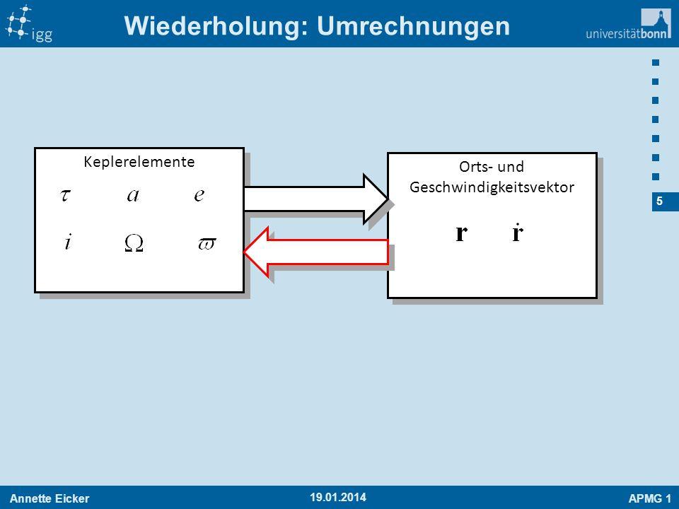 Annette EickerAPMG 1 16 19.01.2014 Anwendung: Fluchtgeschwindigkeit Anwendung: Fluchtgeschwindigkeit