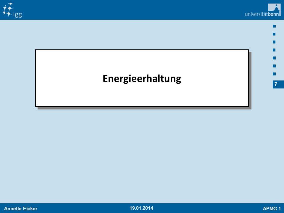 Annette EickerAPMG 1 28 19.01.2014 Bahnenergie CHAMP m²/s² Verlauf der Bahnenergie Stunden Die abgeplattete Erde