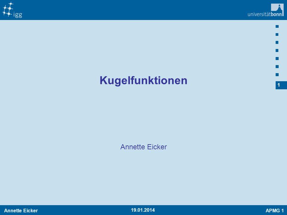 Annette EickerAPMG 1 2 19.01.2014 Wiederholung: Gravitationspotential Potential Aufpunkt:Quellpunkt: Feldstärke Wir haben diese Integrale gelöst KugelHohlkugel Kugeloberfläche (für einfache Körper)