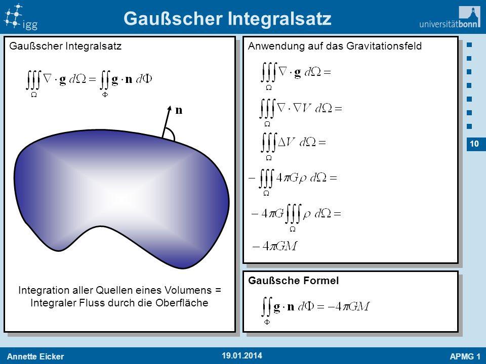 Annette EickerAPMG 1 10 19.01.2014 Gaußscher Integralsatz Integration aller Quellen eines Volumens = Integraler Fluss durch die Oberfläche Anwendung a