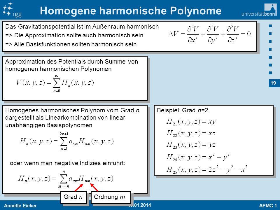 Annette EickerAPMG 1 19 19.01.2014 Homogene harmonische Polynome Das Gravitationspotential ist im Außenraum harmonisch => Die Approximation sollte auc
