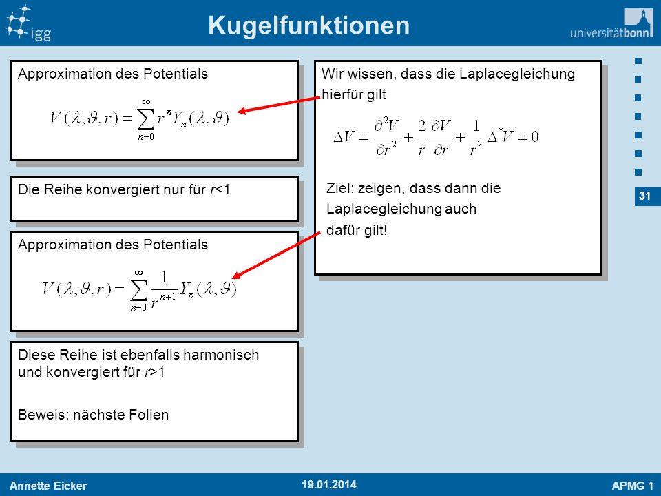 Annette EickerAPMG 1 31 19.01.2014 Kugelfunktionen Approximation des Potentials Die Reihe konvergiert nur für r<1 Approximation des Potentials Diese R