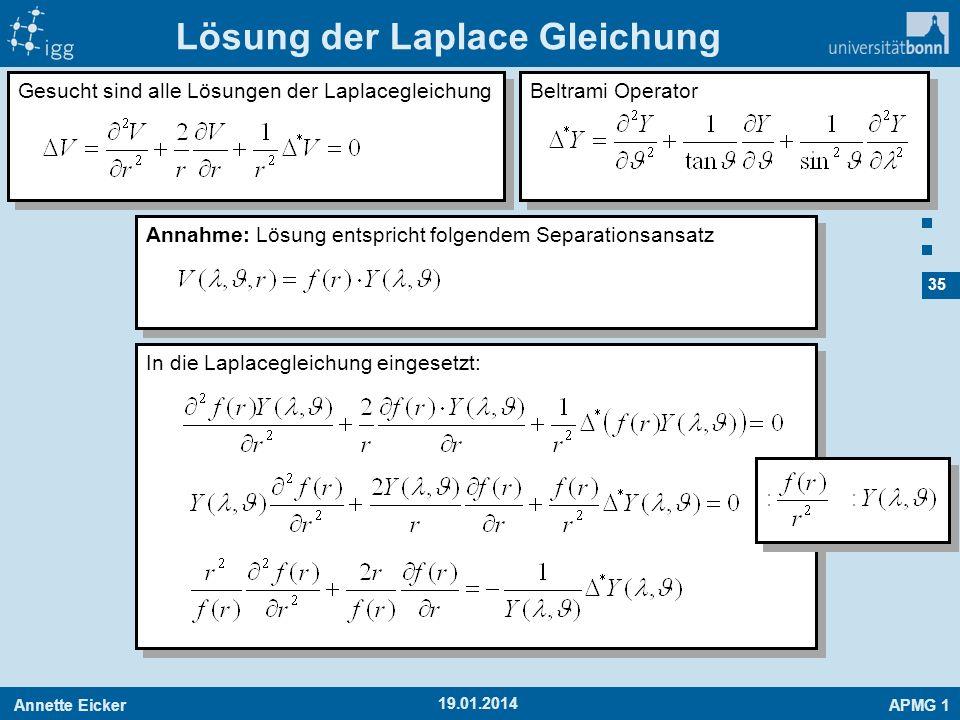 Annette EickerAPMG 1 35 19.01.2014 Gesucht sind alle Lösungen der Laplacegleichung Lösung der Laplace Gleichung Annahme: Lösung entspricht folgendem S