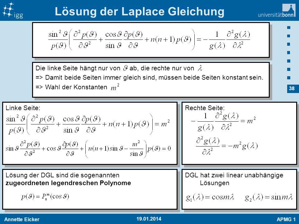 Annette EickerAPMG 1 38 19.01.2014 Linke Seite: Lösung der Laplace Gleichung Die linke Seite hängt nur von ab, die rechte nur von => Damit beide Seite