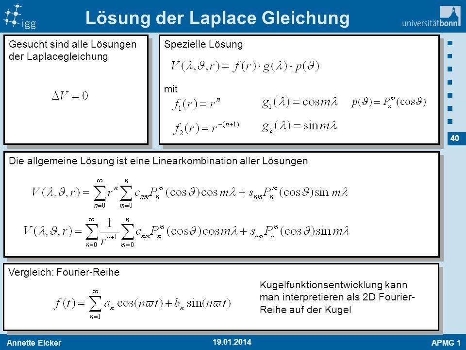 Annette EickerAPMG 1 40 19.01.2014 Lösung der Laplace Gleichung Gesucht sind alle Lösungen der Laplacegleichung Spezielle Lösung mit Spezielle Lösung