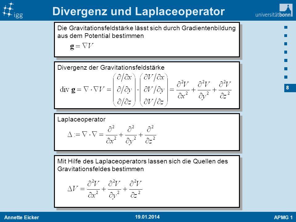 Annette EickerAPMG 1 9 19.01.2014 Laplace- und Poissongleichung Für beliebige Massenanordnungen gilt: Außerhalb der Massen: Laplacegleichung Außerhalb der Massen: Laplacegleichung Innerhalb der Massen: Poissongleichung Innerhalb der Massen: Poissongleichung Funktionen, die die Laplacegleichung erfüllen, nennt man harmonische Funktionen.