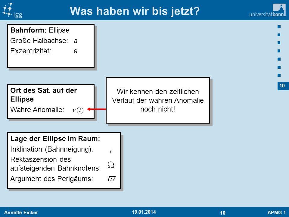 Annette EickerAPMG 1 10 19.01.2014 Was haben wir bis jetzt? Bahnform: Ellipse Große Halbachse:a Exzentrizität:e Bahnform: Ellipse Große Halbachse:a Ex