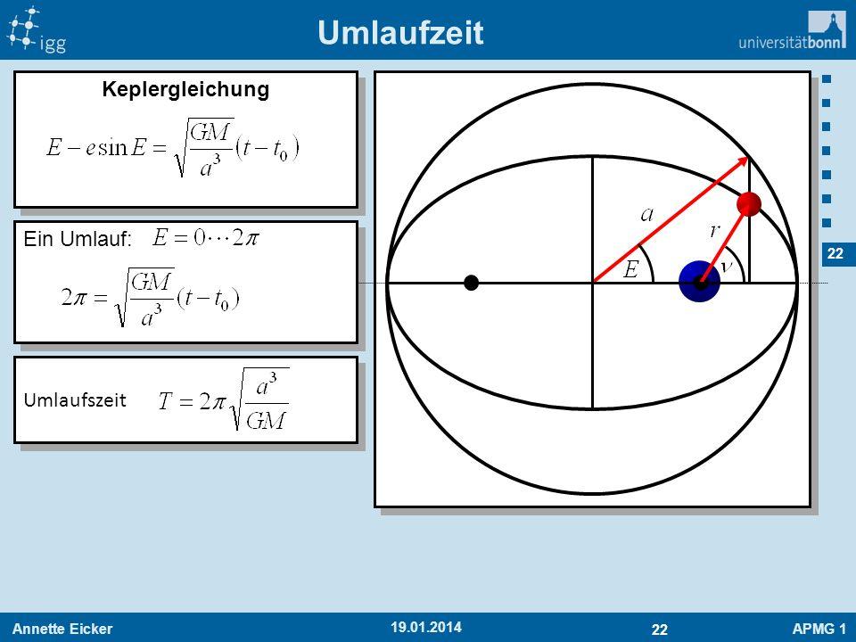 Annette EickerAPMG 1 22 19.01.2014 Keplergleichung Umlaufzeit Ein Umlauf: Umlaufszeit