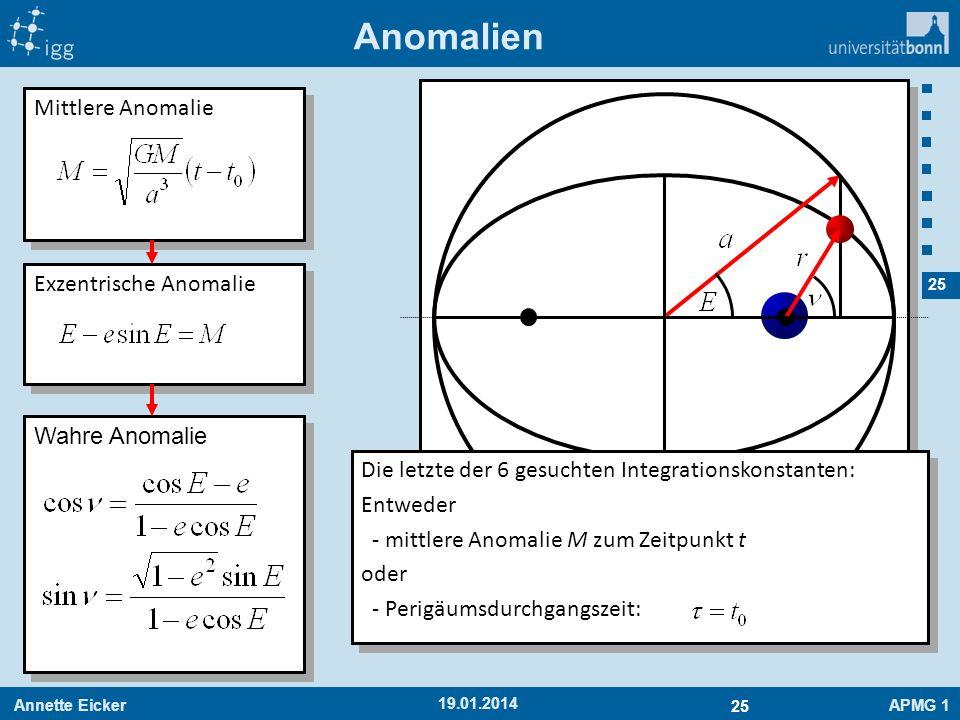 Annette EickerAPMG 1 25 19.01.2014 Anomalien Mittlere Anomalie Exzentrische Anomalie Wahre Anomalie Die letzte der 6 gesuchten Integrationskonstanten: