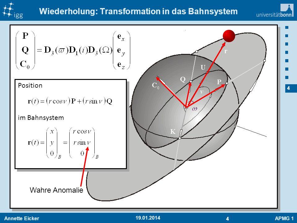 Annette EickerAPMG 1 4 4 19.01.2014 Wiederholung: Transformation in das Bahnsystem Position im Bahnsystem Position im Bahnsystem Wahre Anomalie