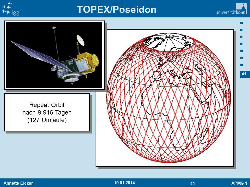 Annette EickerAPMG 1 41 19.01.2014 TOPEX/Poseidon Repeat Orbit nach 9,916 Tagen (127 Umläufe) Repeat Orbit nach 9,916 Tagen (127 Umläufe)