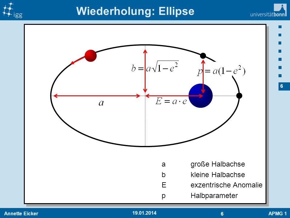 Annette EickerAPMG 1 6 6 19.01.2014 Wiederholung: Ellipse agroße Halbachse bkleine Halbachse Eexzentrische Anomalie pHalbparameter