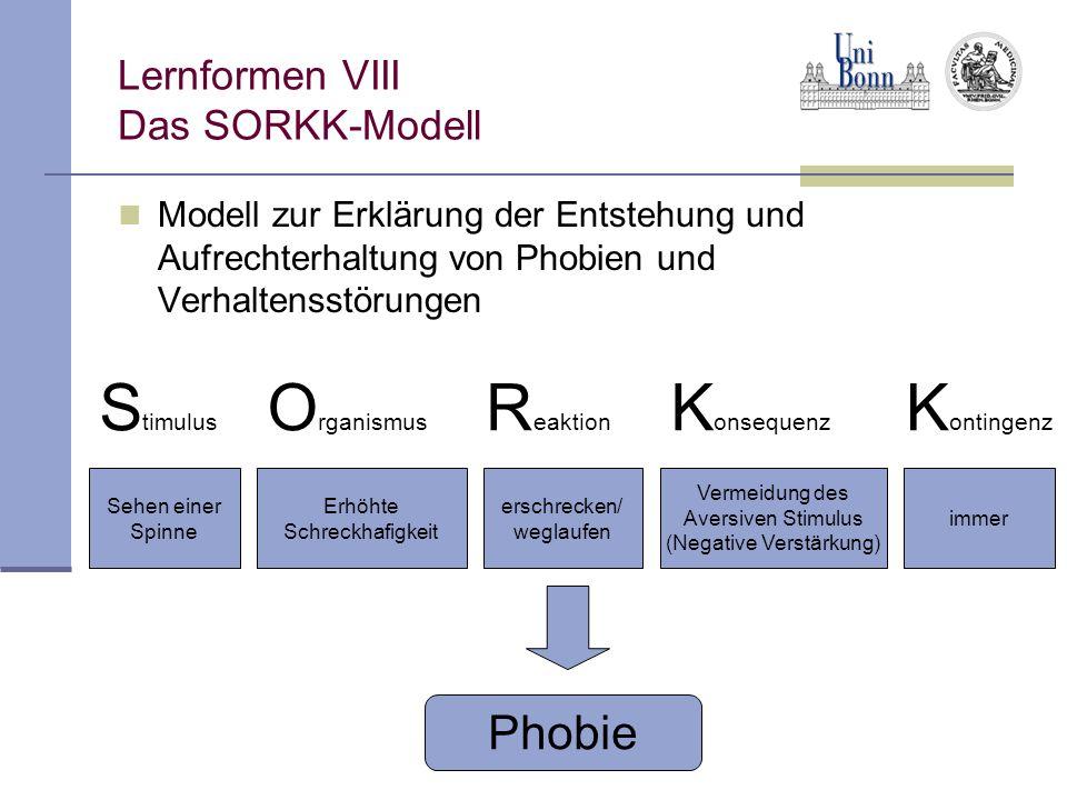 Lernformen VIII Das SORKK-Modell Modell zur Erklärung der Entstehung und Aufrechterhaltung von Phobien und Verhaltensstörungen S timulus O rganismus R