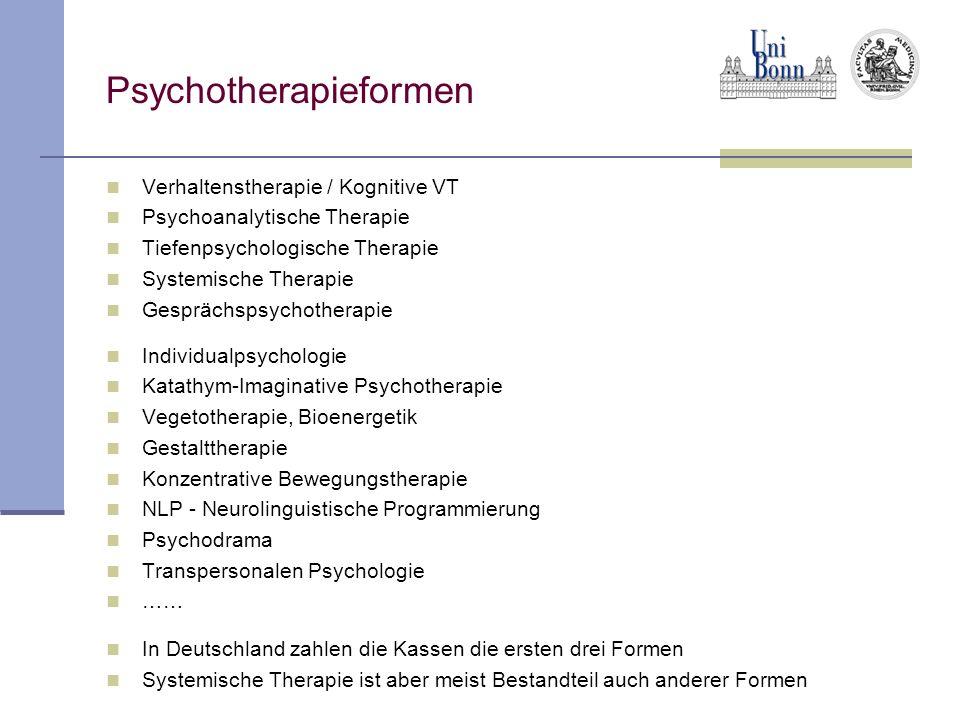 Psychotherapieformen Verhaltenstherapie / Kognitive VT Psychoanalytische Therapie Tiefenpsychologische Therapie Systemische Therapie Gesprächspsychoth