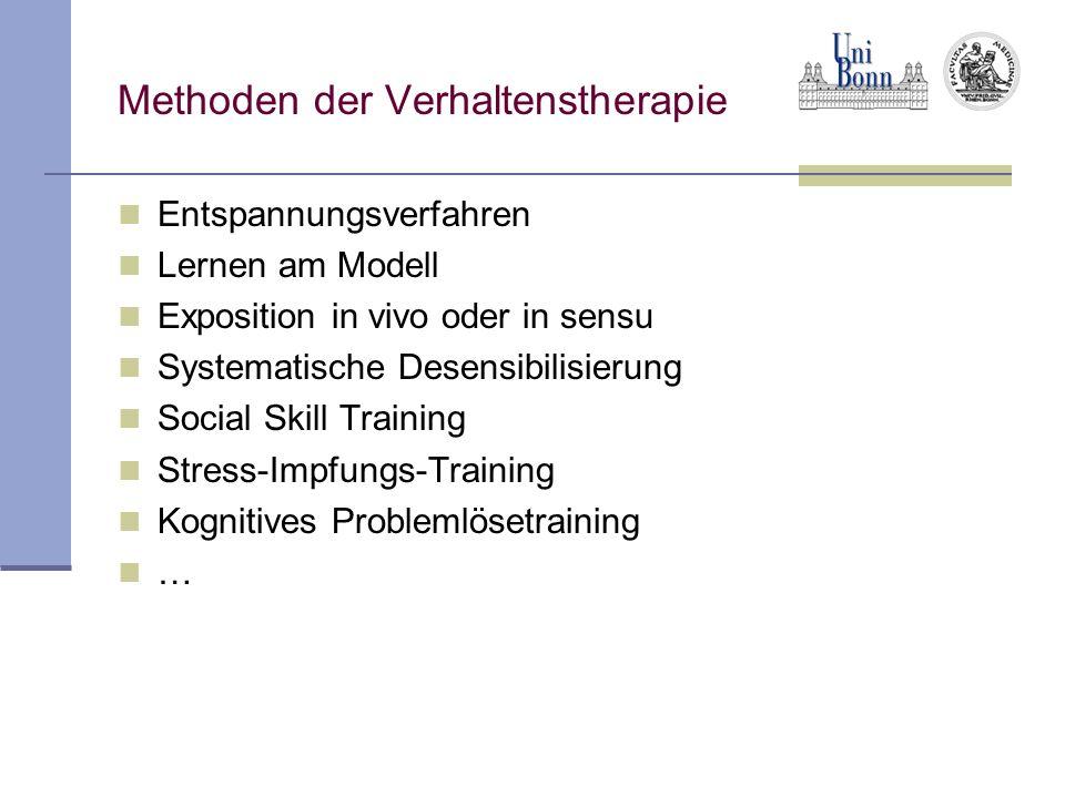 Methoden der Verhaltenstherapie Entspannungsverfahren Lernen am Modell Exposition in vivo oder in sensu Systematische Desensibilisierung Social Skill