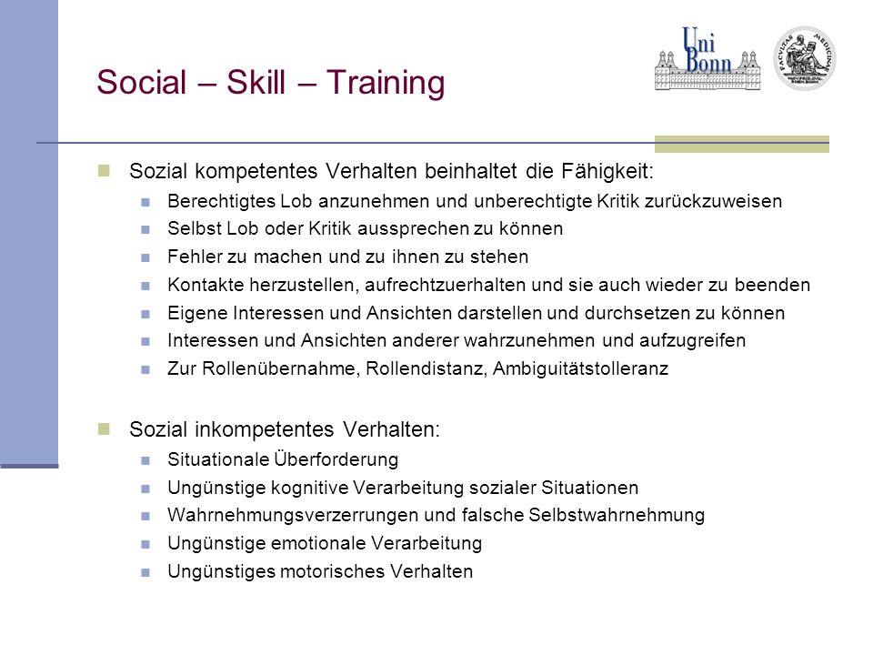 Social – Skill – Training Sozial kompetentes Verhalten beinhaltet die Fähigkeit: Berechtigtes Lob anzunehmen und unberechtigte Kritik zurückzuweisen S