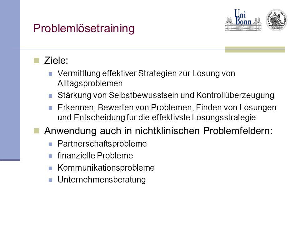Problemlösetraining Ziele: Vermittlung effektiver Strategien zur Lösung von Alltagsproblemen Stärkung von Selbstbewusstsein und Kontrollüberzeugung Er