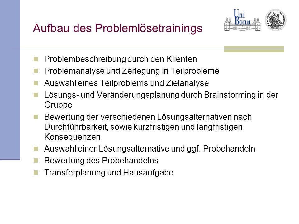 Aufbau des Problemlösetrainings Problembeschreibung durch den Klienten Problemanalyse und Zerlegung in Teilprobleme Auswahl eines Teilproblems und Zie