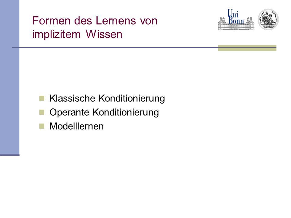 Formen des Lernens von implizitem Wissen Klassische Konditionierung Operante Konditionierung Modelllernen