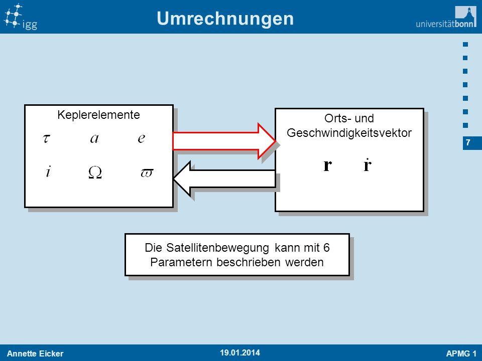 Annette EickerAPMG 1 8 19.01.2014 Berechnung von Position und Geschwindigkeit aus den Keplerelementen