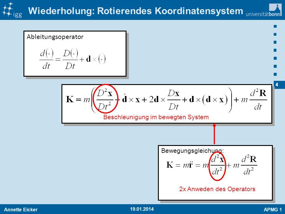 Annette EickerAPMG 1 4 19.01.2014 Wiederholung: Rotierendes Koordinatensystem Bewegungsgleichung: 2x Anweden des Operators Beschleunigung im bewegten