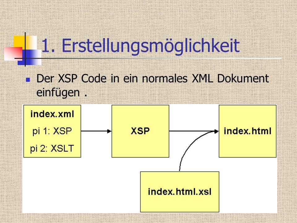 1. Erstellungsmöglichkeit Der XSP Code in ein normales XML Dokument einfügen.