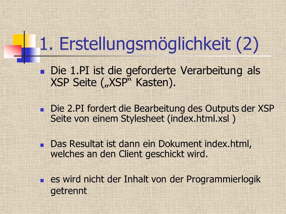 1. Erstellungsmöglichkeit (2) Die 1.PI ist die geforderte Verarbeitung als XSP Seite (XSP Kasten). Die 2.PI fordert die Bearbeitung des Outputs der XS
