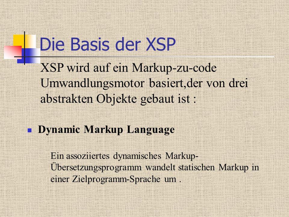 Die Basis der XSP Dynamic Markup Language Ein assoziiertes dynamisches Markup- Übersetzungsprogramm wandelt statischen Markup in einer Zielprogramm-Sprache um.