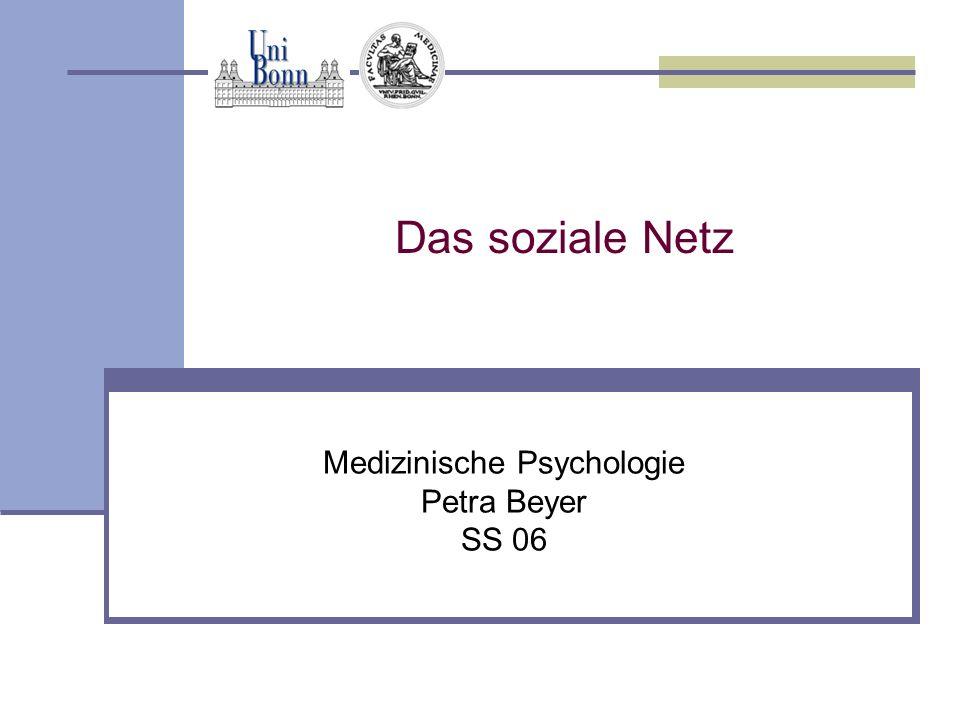 Das soziale Netz Medizinische Psychologie Petra Beyer SS 06