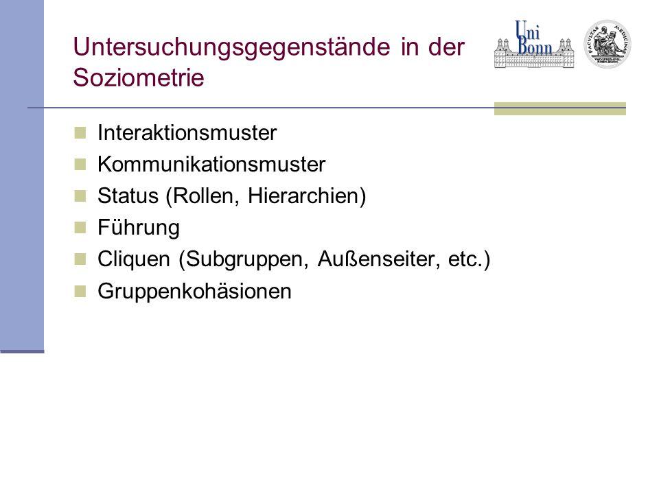 Untersuchungsgegenstände in der Soziometrie Interaktionsmuster Kommunikationsmuster Status (Rollen, Hierarchien) Führung Cliquen (Subgruppen, Außensei
