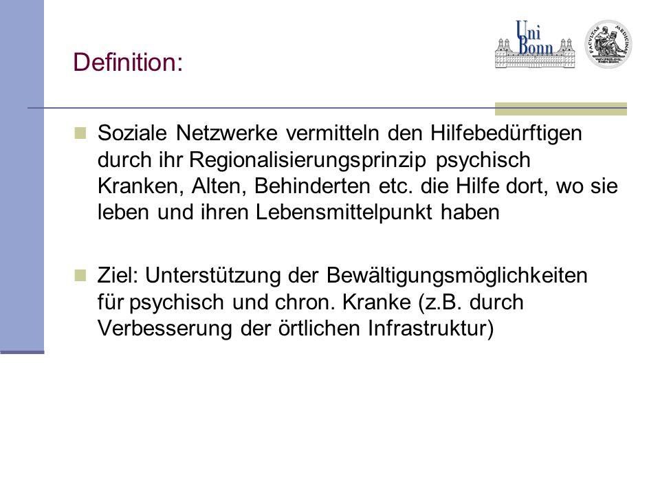 Definition: Soziale Netzwerke vermitteln den Hilfebedürftigen durch ihr Regionalisierungsprinzip psychisch Kranken, Alten, Behinderten etc. die Hilfe