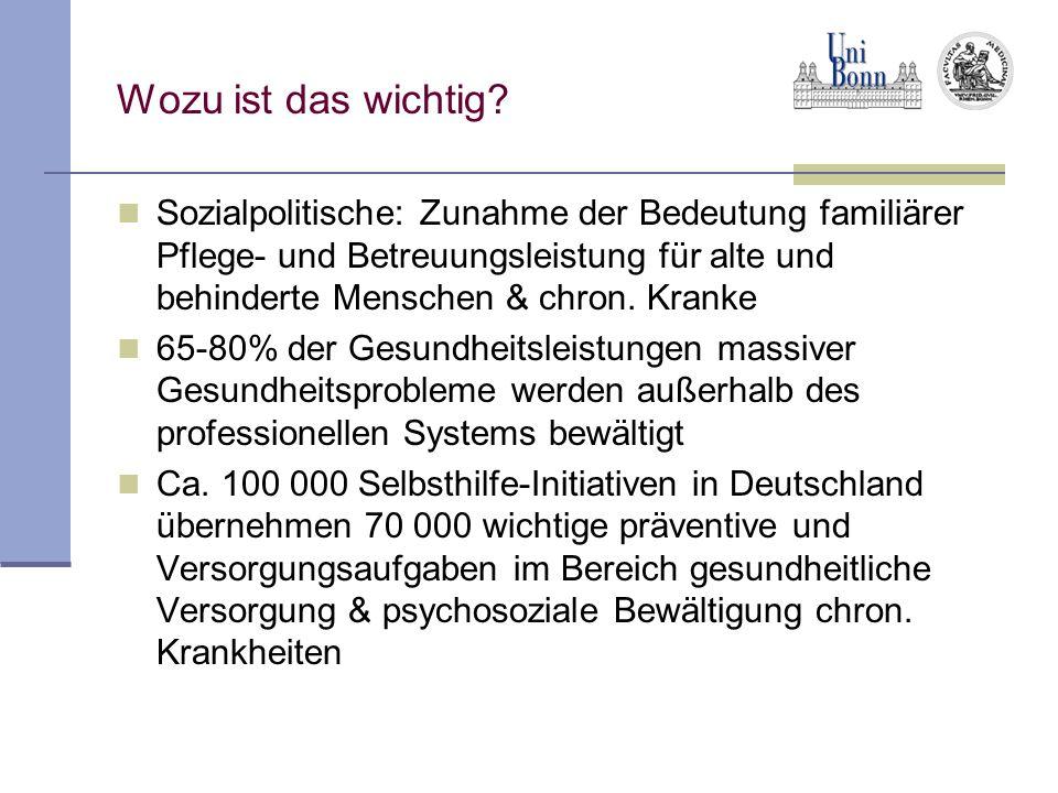Wozu ist das wichtig? Sozialpolitische: Zunahme der Bedeutung familiärer Pflege- und Betreuungsleistung für alte und behinderte Menschen & chron. Kran