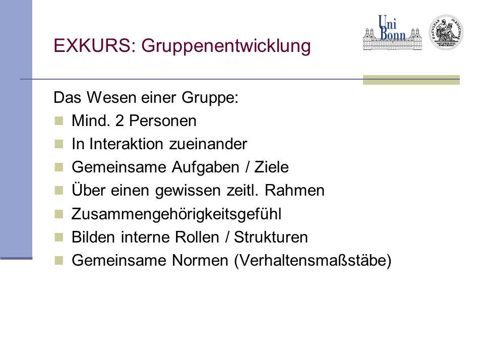 EXKURS: Gruppenentwicklung Das Wesen einer Gruppe: Mind. 2 Personen In Interaktion zueinander Gemeinsame Aufgaben / Ziele Über einen gewissen zeitl. R
