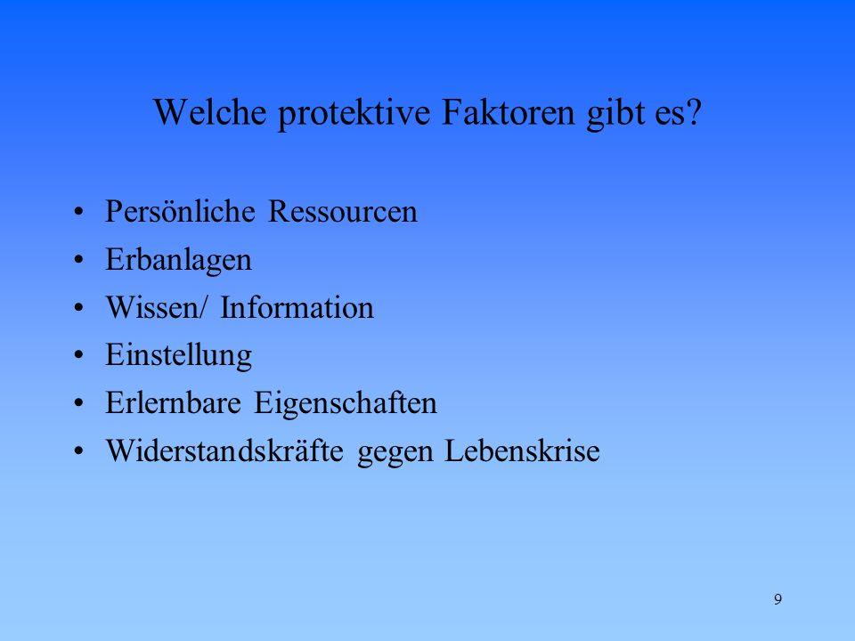 9 Welche protektive Faktoren gibt es? Persönliche Ressourcen Erbanlagen Wissen/ Information Einstellung Erlernbare Eigenschaften Widerstandskräfte geg
