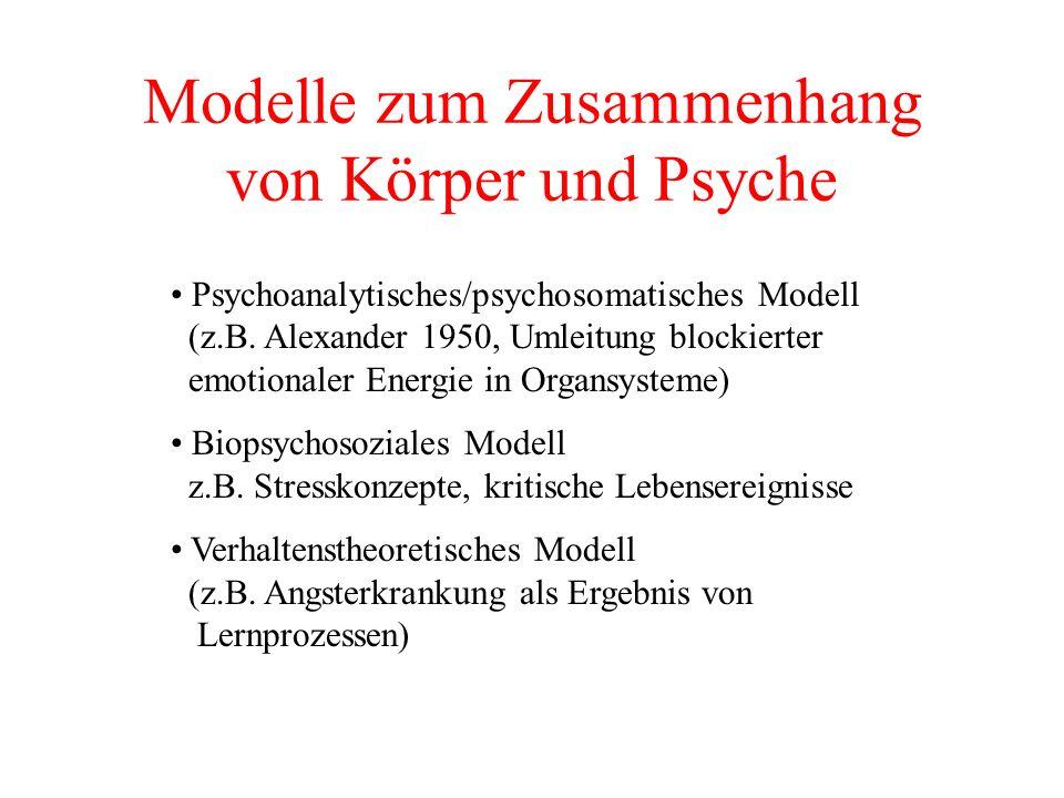 Modelle zum Zusammenhang von Körper und Psyche Psychoanalytisches/psychosomatisches Modell (z.B. Alexander 1950, Umleitung blockierter emotionaler Ene