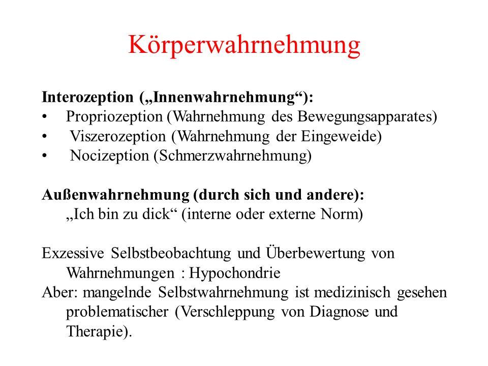Körperwahrnehmung Interozeption (Innenwahrnehmung): Propriozeption (Wahrnehmung des Bewegungsapparates) Viszerozeption (Wahrnehmung der Eingeweide) No