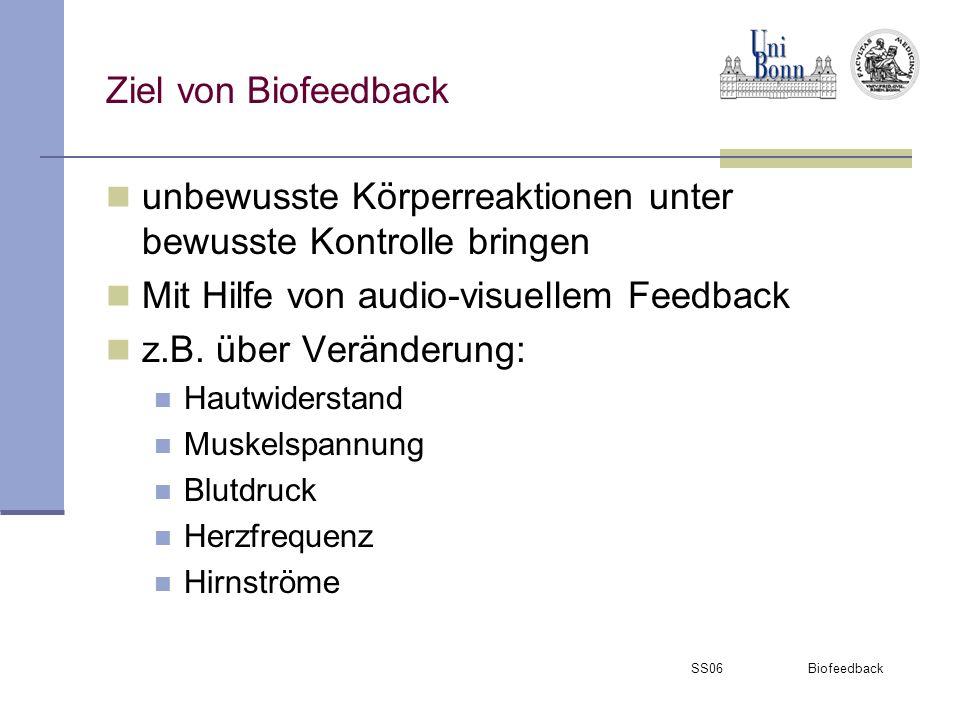 SS06 Biofeedback Rückmeldung durch: Physiologischer Parameter: Lichtreize Fernsehbilder Töne