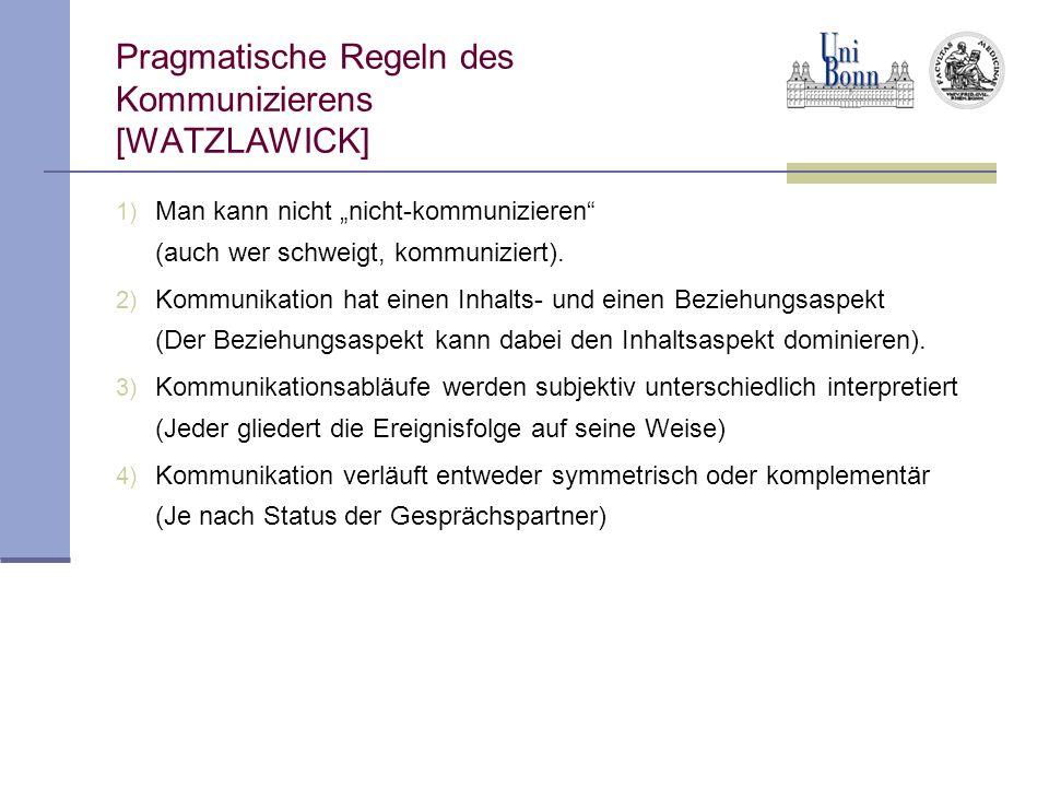 Pragmatische Regeln des Kommunizierens [WATZLAWICK] 1) Man kann nicht nicht-kommunizieren (auch wer schweigt, kommuniziert).