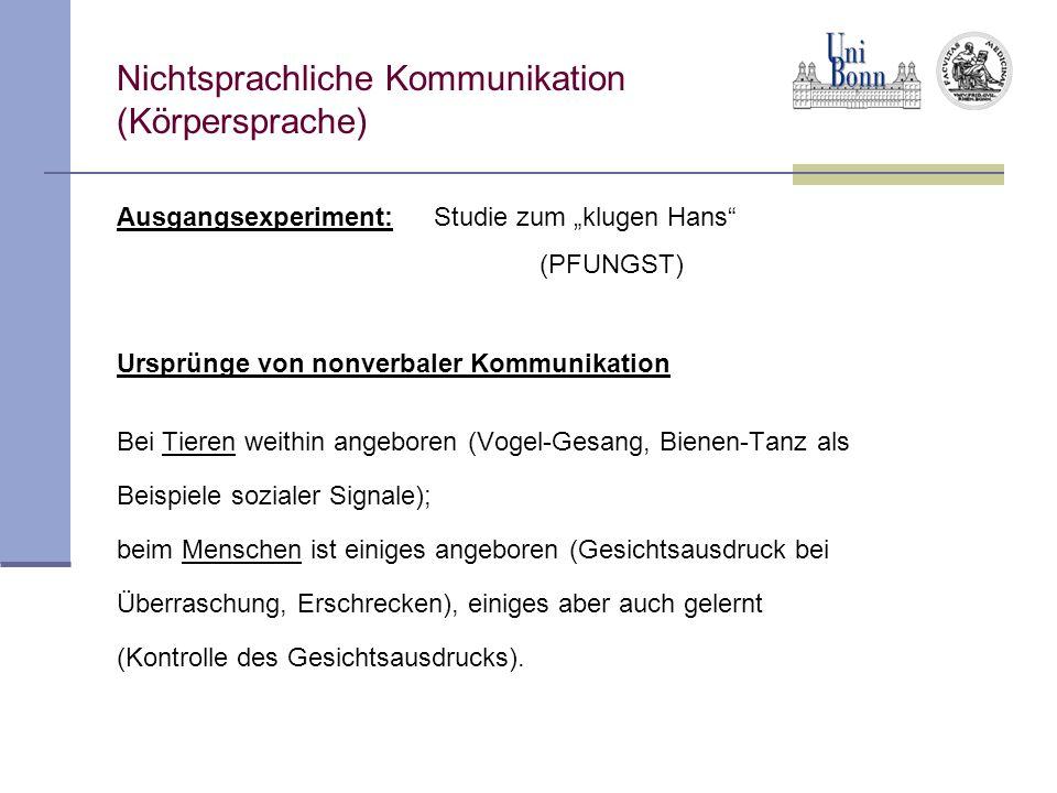 Nichtsprachliche Kommunikation (Körpersprache) Ausgangsexperiment:Studie zum klugen Hans (PFUNGST) Ursprünge von nonverbaler Kommunikation Bei Tieren