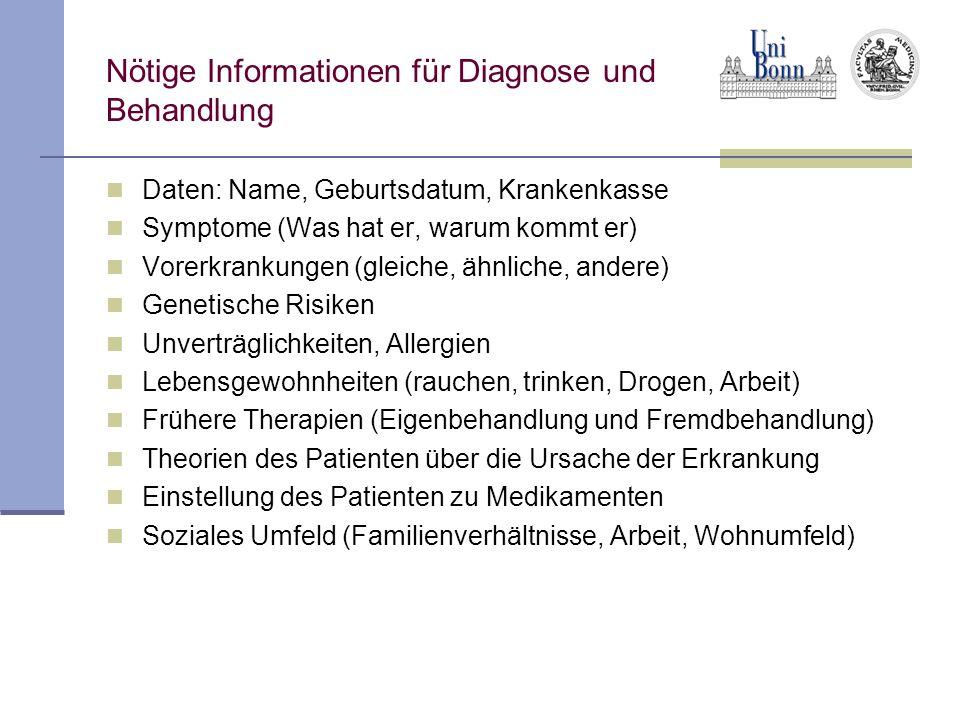 Nötige Informationen für Diagnose und Behandlung Daten: Name, Geburtsdatum, Krankenkasse Symptome (Was hat er, warum kommt er) Vorerkrankungen (gleich