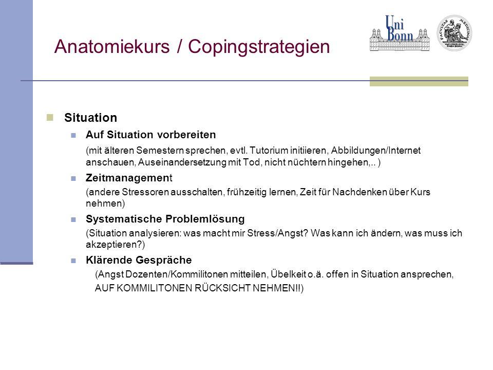 Anatomiekurs / Copingstrategien Situation Auf Situation vorbereiten (mit älteren Semestern sprechen, evtl. Tutorium initiieren, Abbildungen/Internet a