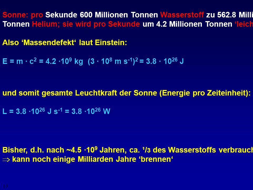 12 Masse = Energie Kernfusion Kernspaltung