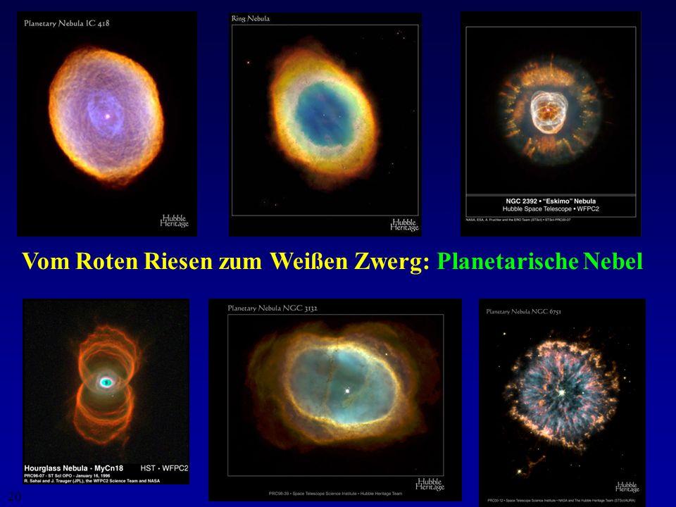 19 Der unspektakuläre Sterntod: Hauptreihenstern Roter Riese Planetarischer Nebel Weißer Zwerg